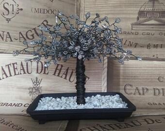 Unique Silver Wedding Anniversary gift. Beautiful silver bead & Swarovski crystal tipped tree. 25th wedding anniversary present         SI01