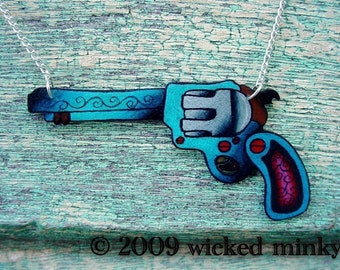 pistol necklace vintage tattoo style bright cobalt blue and pink