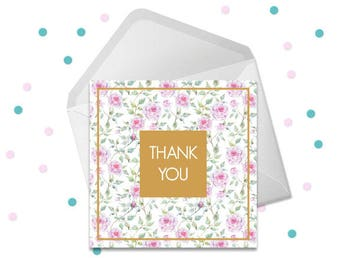 Thank You Card Pink Roses with Gold Instant Download Packaging Card Appreciation Card Printable