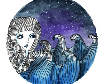 Galaxy Art, Cosmic, Wall art, Art Print, Space, sea, illustration, female, nature, celestial