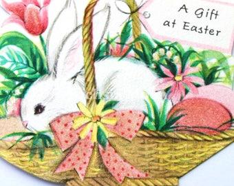 DIGITAL DOWNLOAD : Sweetest Vintage Easter Bunny In a Basket Image