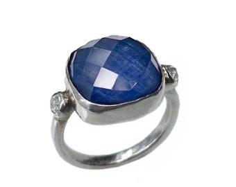 Sapphire Doublet and Sterling Silver Ring