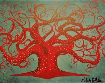Painting Original Red Octopus Tree