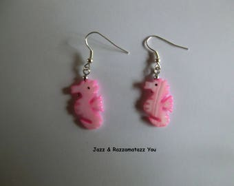 Handcrafted Pink Seahorse Agate Stone Earrings