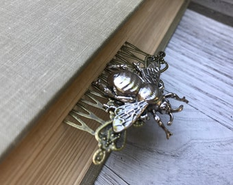 Silver Tone Bumble Bee Hair Comb OOAK
