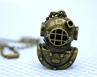 Brass Diver Mask Diver Helmet Necklace on 18 inch Ball Chain