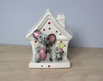 Vintage Ceramic Mouse House Bank