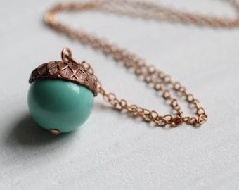 Acorn Necklace ...  Turquoise Aqua Blue Swarovski Pearls Copper Oak