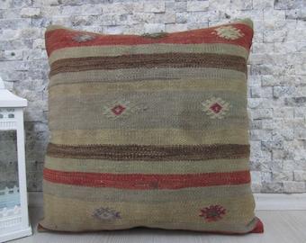 very rare old kilim pillow 18x18 Kilim cushion kilim lumbar Decorative Pillow Medium Size Chair Pillow Bohemian Pillow Ottoman Pillow