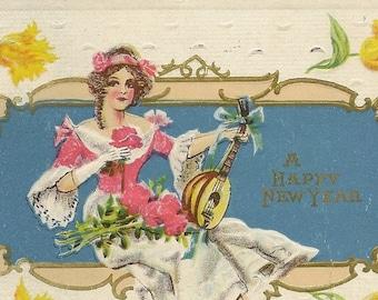 Elegant Edwardian Lady and Lute on Antique New Year's Postcard 1913 J Herman From Midland Publishing