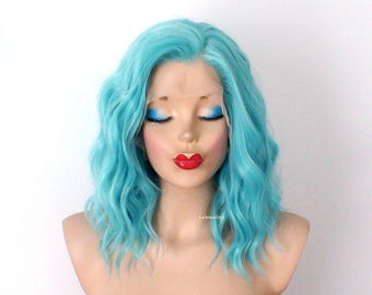 Lace front wig. Teal Blue wig.  Pastel wig. Short wig. Beach waves hairstyle wig. Durable heat friendly wig for everyday wear or Cosplay.