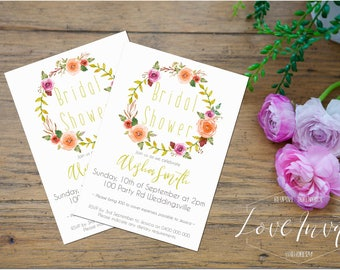 boho bridal shower invitation | flower crown | floral bridal shower | rustic bridal shower invites | hens party | kitchen tea  | fall