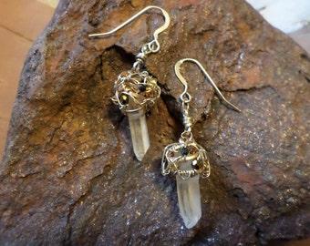 Quartz Point and Nest earrings