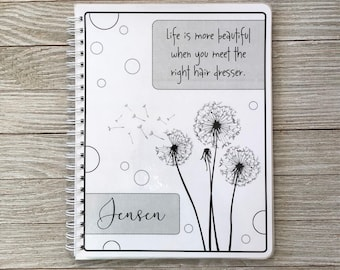 Salon Yearly Appointment Book with Income Tracking - Dandelion Design - Personalized