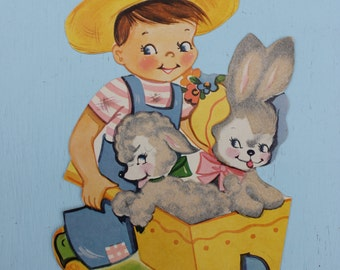 Vintage Cardboard Die Cut Boy with Wheelbarrow, Easter, Flocked, A-Meri-Card. ONE