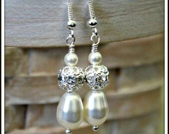 Bridesmaid Pearl Earring, Wedding Pearl Earings, Bridal Pearl Drop Earrings, Swarovski White Ivory Pearl Jewelry, Silver Plated Earring
