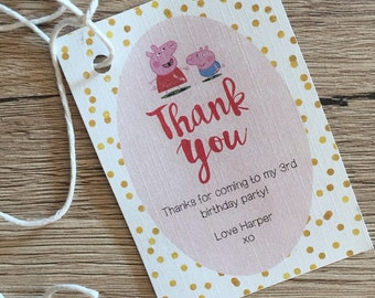 Peppa Pig Thank You Card | Matching Card to Peppa Pig Birthday Party Invitation. Kids Birthday Party Invitation, DIGITAL FILE