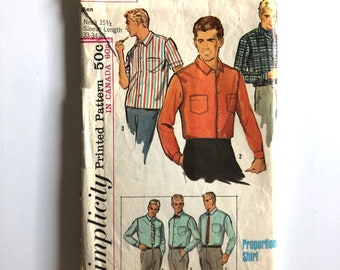 Vintage Sewing Pattern Men's 60's Simplicity 6255, Proportioned Shirt (33,34,35)