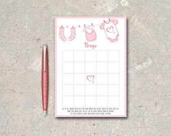 Baby Shower Bingo Card Printable, Girl Baby Shower Game, Pink Girl Baby Shower Bingo, Printable Bingo Game, Bingo baby shower Digital file