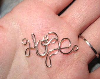 Wire Wrapped HOPE Spelled Pendant MADE to ORDER