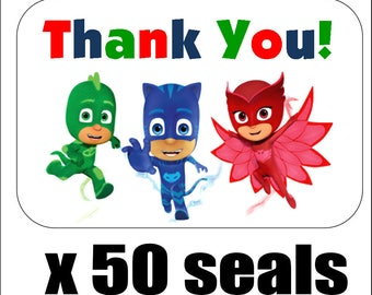 "50 PJ Masks Thank You Envelope Seals / Labels / Stickers, 1"" by 1.5"""