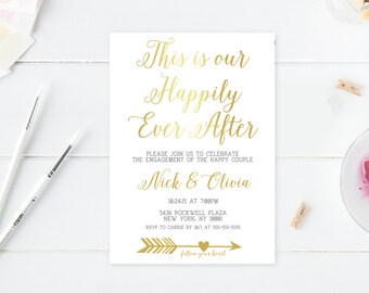 Engagement Party Invitation, Printable Engagement Party Invites, Engagement Invites, Engagement Party, Engaged, Gold Engagement Party [318]