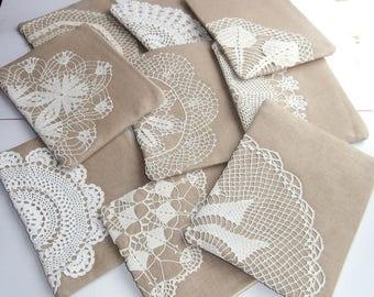 Set of 9 bridesmaid clutches - beige linen +vintage doily zipper clutch, handmade pouch, vintage lace bag, linen bag, rustic wedding bag