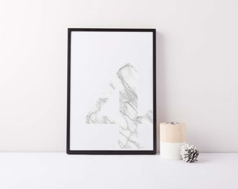 A3 Marble Number Print