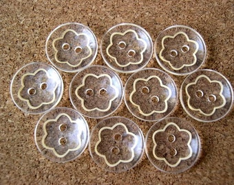 10 Buttons translucent with flower flower new plastic buttons 15mm