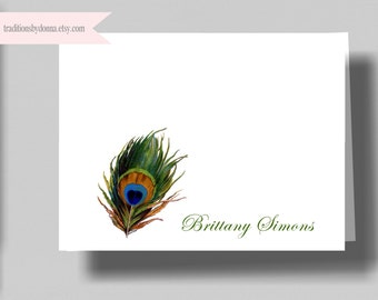 PERSONALIZED NOTECARDS PEACOCK Feather/ Boxed Set of 10 Folded Notecards for Women/ Peacock Thank You Card/ Beautiful Peacock Stationery