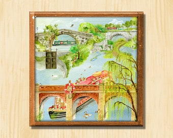 Riverside - Instant Downloadable Art Print Digital Wall Art Printable Scene Art Home Decor