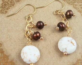 White Turquoise Earrings Dangle Earrings Brown White Bridesmaid Earrings Farm Wedding Jewelry Freshwater Pearl 14kt Gold Fill Jewelry