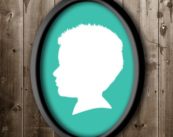 Traditional Profile Silhouette, Custom Silhouette from your photo, Children's room decor, Silhouette Art, Silhouette Portrait