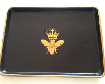 L gold queen bee black serving tray