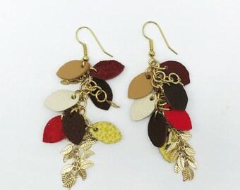 Handmade custom leather and metal dangle earrings