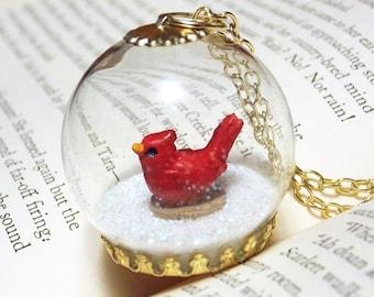 Cardinal Snowglobe Necklace