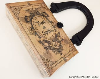 Book of Spells Book Cover Handbag - WICCAN Book Clutch - Salem Witch Spells Book Purse - MacBeth Witch Handbag - Vintage Spell Book Bag