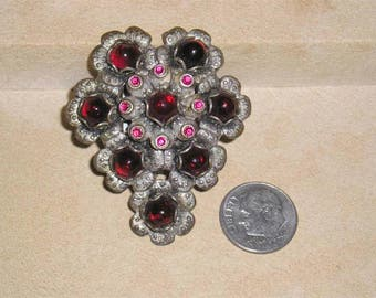 Vintage Red Raspberry Dress Clip With Rhinestones And Glass Cabochons 1920's Jewelry A32