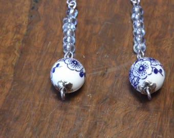 White and blue porcelain drop earrings