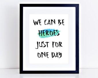 David Bowie Printable Tribute - Heroes Lyrics