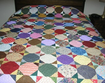 King Quilt, Queen Quilt, Snowball Quilt,Handmade Queen Size Quilt, 97 x 103 inches