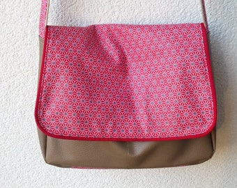 Laminated cotton and beige faux leather satchel bag Red