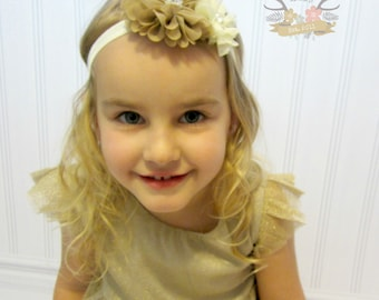 Tan Cream Headband Pearl Rhinestone -  Photo Prop - Newborn Infant Baby Toddler Girls Adult Wedding Flower Girl Baptism Rustic