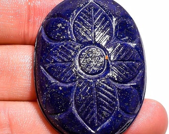 96.1 Ct. Natural Carved Lapis Lazuli Oval Cabochon Gemstone 42X31X8 mm HB-1211