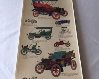 Vintage Antique Automobiles Poster printed by III Tre Tryckare, Gothenburg, Sweden, antique car poster man cave