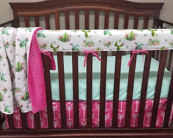 Girl Crib Bedding -  Cactus and Pink Arrows