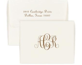 Set of 50 Monogram Folded Note Cards Delavan