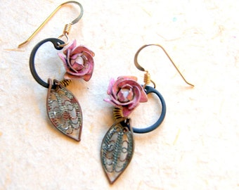 Rose Earrings - Vintage Pink Rose charms with Retaining Rings