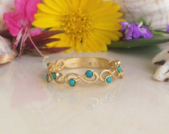 20% off- SALE! Turquoise Ring - December Birthstone - Tiny Ring - Simple Ring - Gold Ring - Genuine Gemstone Band - Infinity Ring