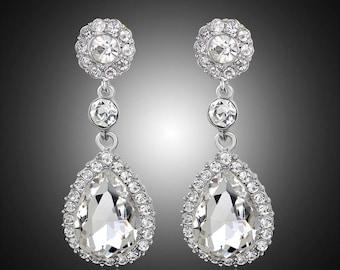 SALE! Bridal Accessories, Bridal Earrings, Bridal Teardrop Earrings, Bridal Drop Earrings, Bridesmaid Earrings